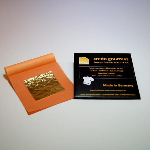 Jadalne złoto płatkowe 23 karaty w książeczce – 50 x 50 mm