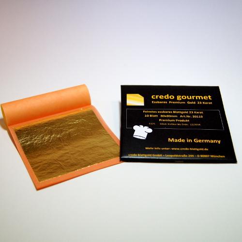 Jadalne złoto płatkowe 23 karaty w książeczce – 80 x 80 mm