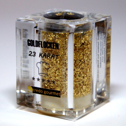 Pojemnik Deluxe z jadalnym złotem płatkowym 23 karaty – 100 mg