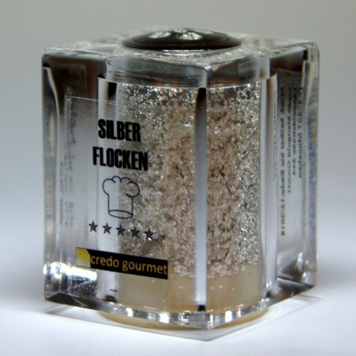 Pojemnik Deluxe z jadalnym czystym srebrem płatkowym – 100 mg